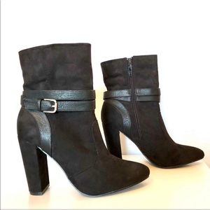 JustFab Black Ankle Booties Marvely Boots 8